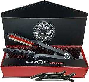 CROC Premium 1.5 Inch Black Infrared Flat Iron Hair Straightener – Ceramic Titanium Floating Plates with Comfort Handle Dual Voltage Heat Up To 450℉