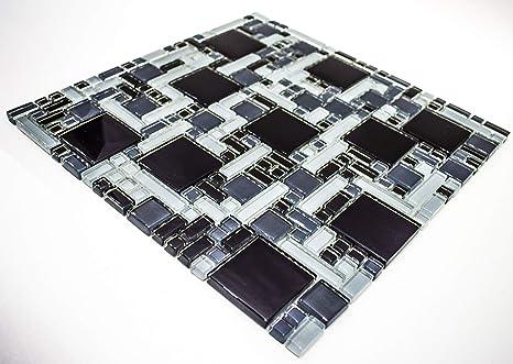 Piastrelle di vetro mosaico 30 x 30 cm nero grigio specchio elegante
