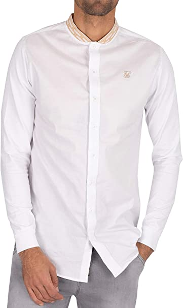 Sik Silk de los Hombres Camisa de Cuello con Cinta de Cadena, Blanco