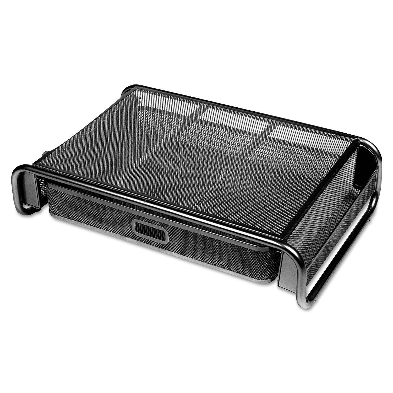 Universal 20018 Metal Mesh Desktop Monitor Stand with Drawer, 18 x 11 3/4 x 5 1/8, Black