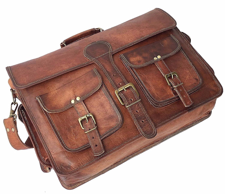 Leather Messenger Handmade Bag Laptop Bag Satchel Bag Padded Messenger Bag School Bag 16X12X5 Inches Brown