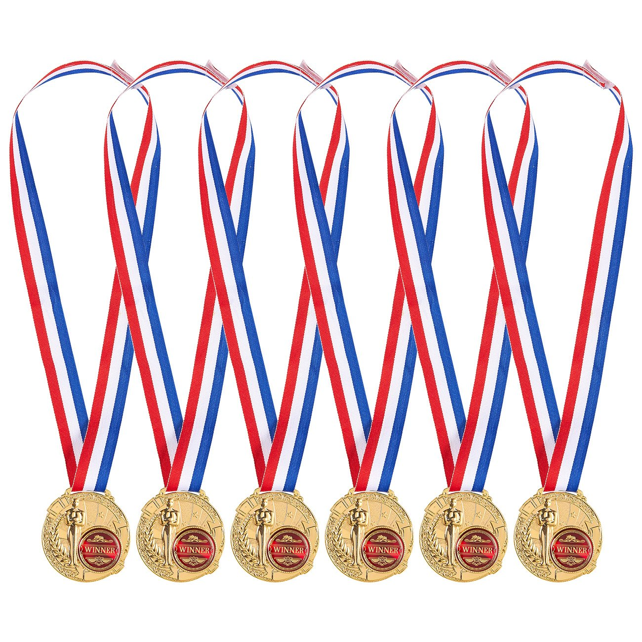 Pack de 6Medallas de Oro–ganador medallas para niños y adultos–fabricado de Metal–gran para todos los concursos y competiciones, oro, rojo, color blanco, azul Juvale