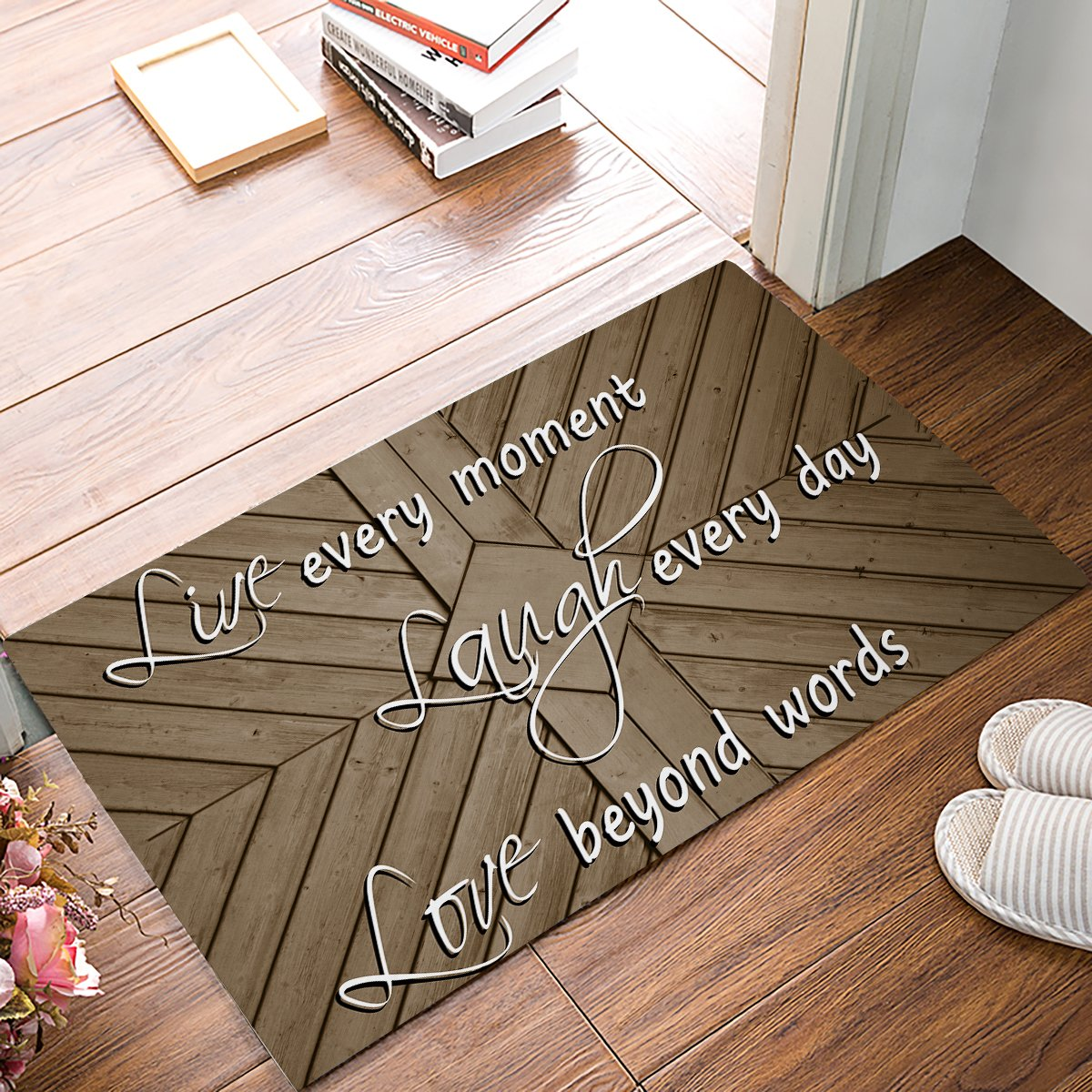 18 x 30 Inch Live Every Moment Laugh Every Day Love Beyond Words - Door Mats Kitchen Floor Bath Entrance Rug Mat Absorbent Indoor Bathroom Decor Doormats Rubber Non Slip Brown Wood