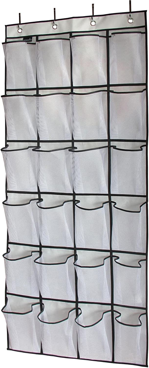 MISSLO Over the Door Hanging Shoe Organiser 24 Large Mesh Storage Pockets (White)