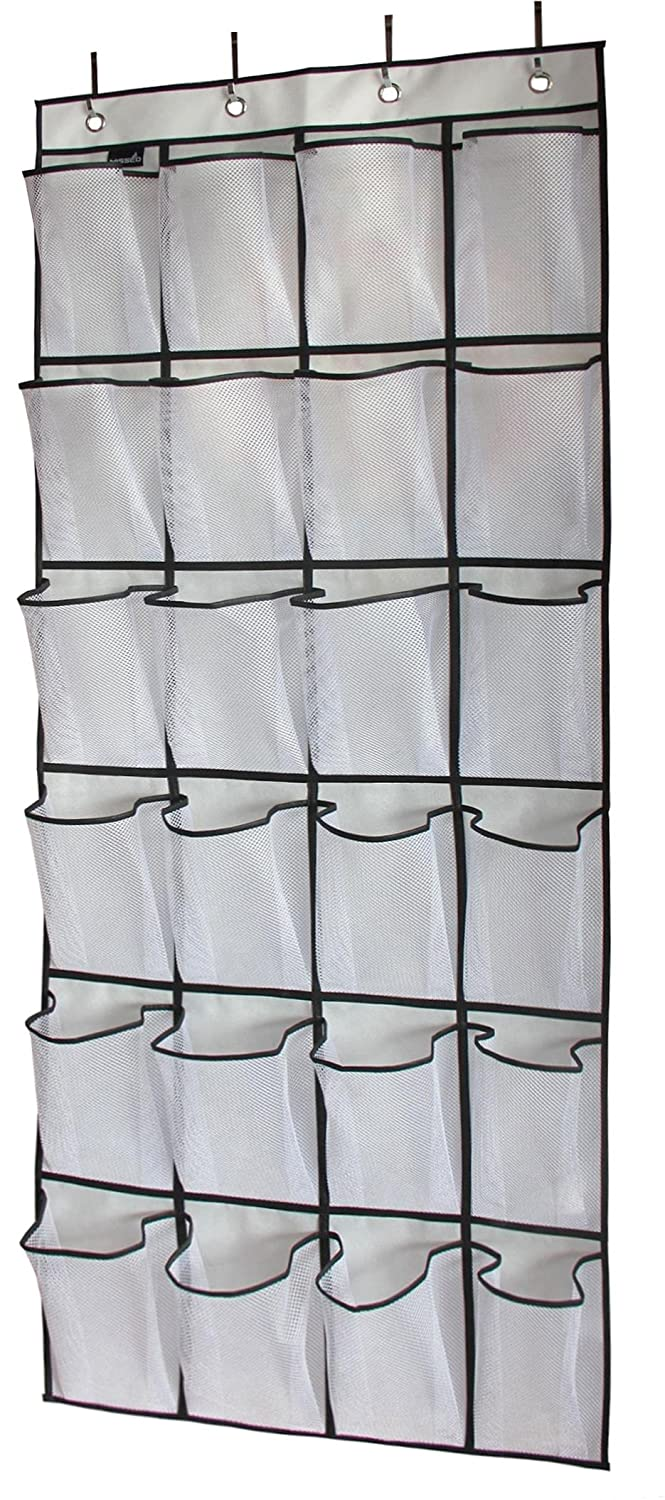 MISSLO Over The Door Shoe Organizer 24 Large Mesh Pockets, White SYNCHKG116021