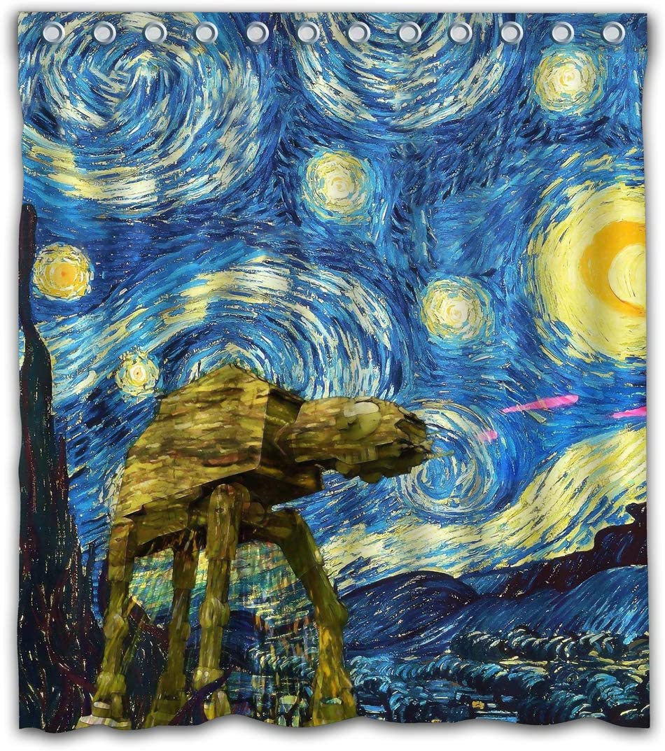 Necky Jennifer Cool Design Starry Night Battlefront Thick Heavy Waterproof Fabric Shower Curtain 12 Holes for Bathroom Decor - 66x72 Inches