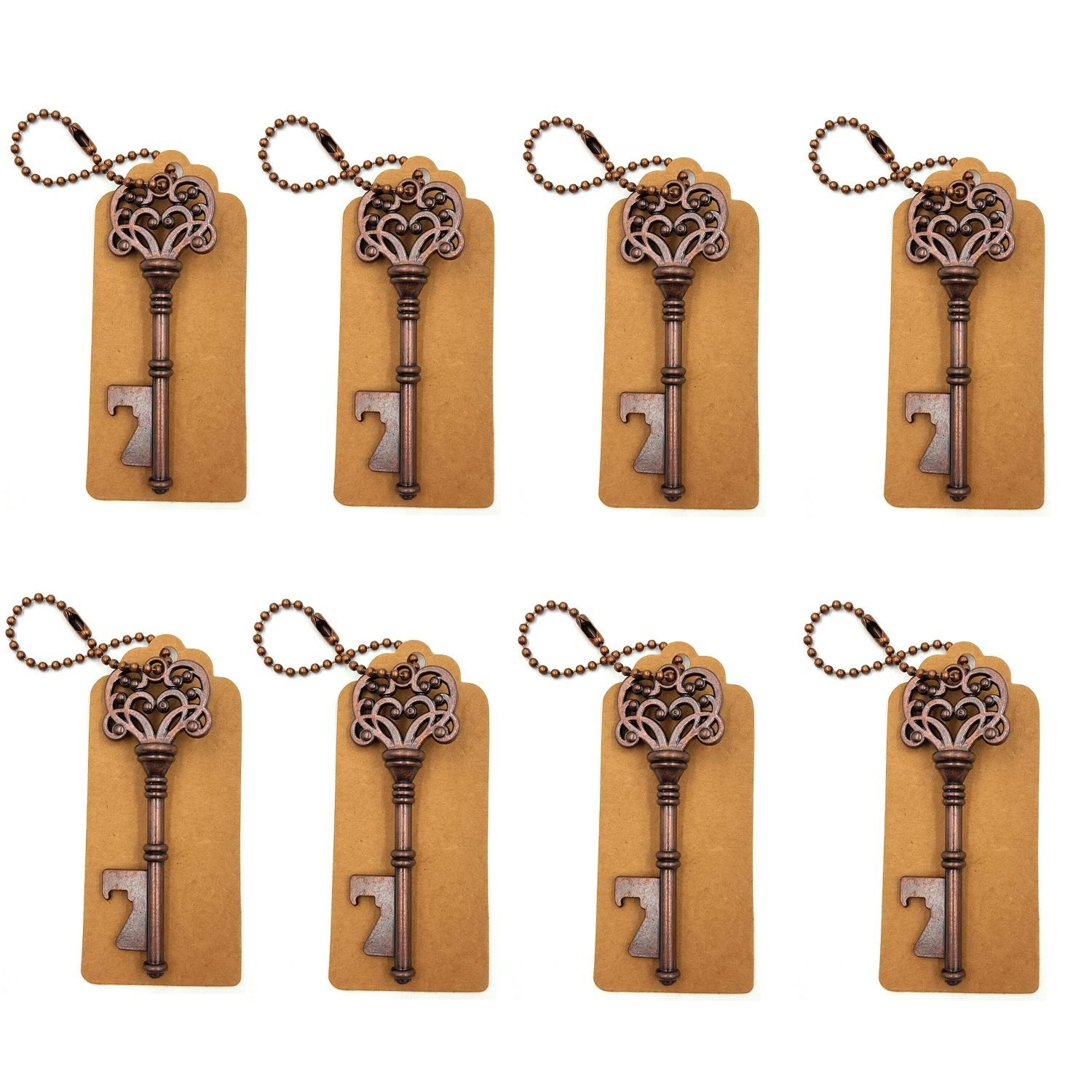 DerBlue 60 PCS Skeleton Key Bottle Openers Wedding Favors Antique Rustic Decoration with Escort Tag Card (Bronze) COMINHKPR142047