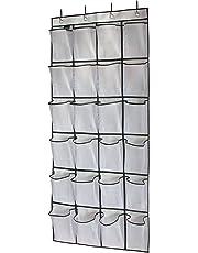 MISSLO Over the Door Hanging Shoe Organiser 24 Large Mesh Storage Pockets (White)