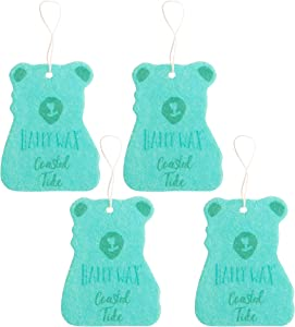 Happy Wax Scented Hanging Car Cub Air Freshener - Beach Scented Car Freshener Infused with Natural Essential Oils! - Cute Car Freshener 4-Pack (Coastal Tide)