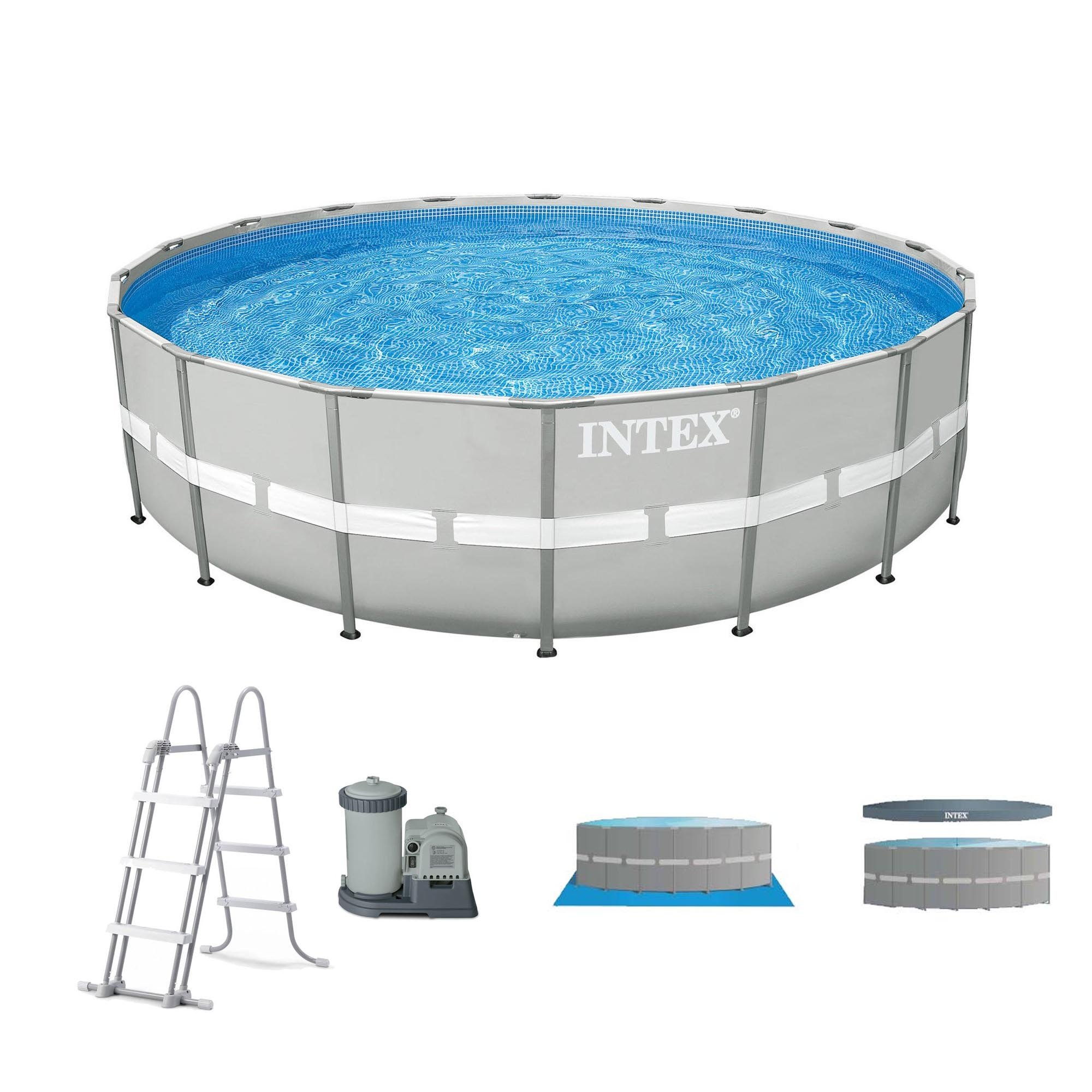 Intex 20' x 48'' Ultra Frame Above Ground Swimming Pool Set w/ Pump and Ladder