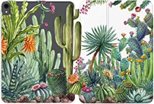 Cavka Case for Apple iPad 10.2 8th Gen 12.9 Pro 11 10.5 9.7 Air 3 Mini 5 4 3 2 1 2019/18 Cactus Auto Wake Sleep Girl Green Leaves Watercolor Flowering Slim Tropical Magnetic Closure Exotic Clear