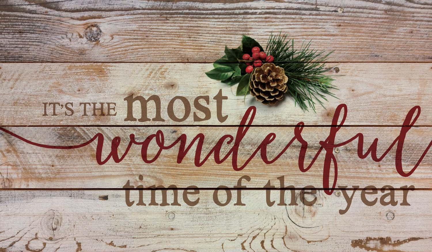 It's the Most Wonderful Time of Year Christmas Holly 14 x 24 Wood Pallet Wall Art Sign Plaque