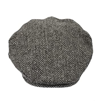 6b8b69c178f472 Heather Hats Men's Highland Harris Tweed Flat Cap / Hat Black/Grey ...