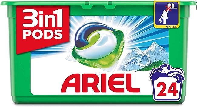 Ariel 3en1 Pods Detergente Cápsulas, Alpine, Limpieza Increíble, Limpia, Quita Manchas, Ilumina - 24 Lavados: Amazon.es: Salud y cuidado personal