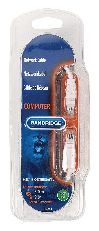RJ45 BCL7203 Bandridge CAT5e UTP Network Cable RJ45 8P8C Male 3.00 m White Male 8P8C