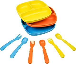 product image for Re-Play Made in The USA Dinnerware Set - 3pk Divided Plates with Matching Utensils Set (Spring)
