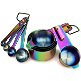 9 Piece Stainless Steel Rainbow/Iridescent/Oil Slick Measuring Cup and Spoon Set by ColorMeHome