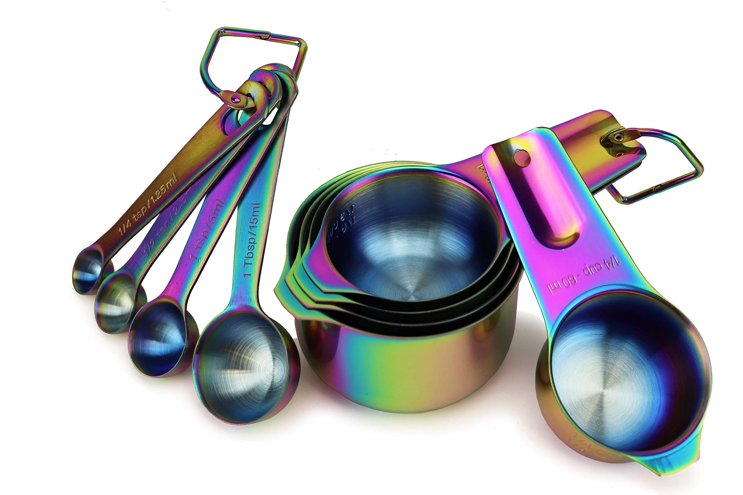 9 Piece Stainless Steel Rainbow/Iridescent/Oil Slick Measuring Cup and Spoon Set by ColorMeHome by ColorMeHome