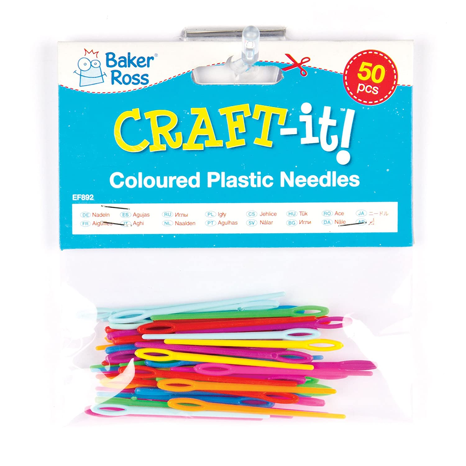 Baker Ross Colored Plastic Needles for Sewing and Weaving Crafts Ideal for Children Pack of 50
