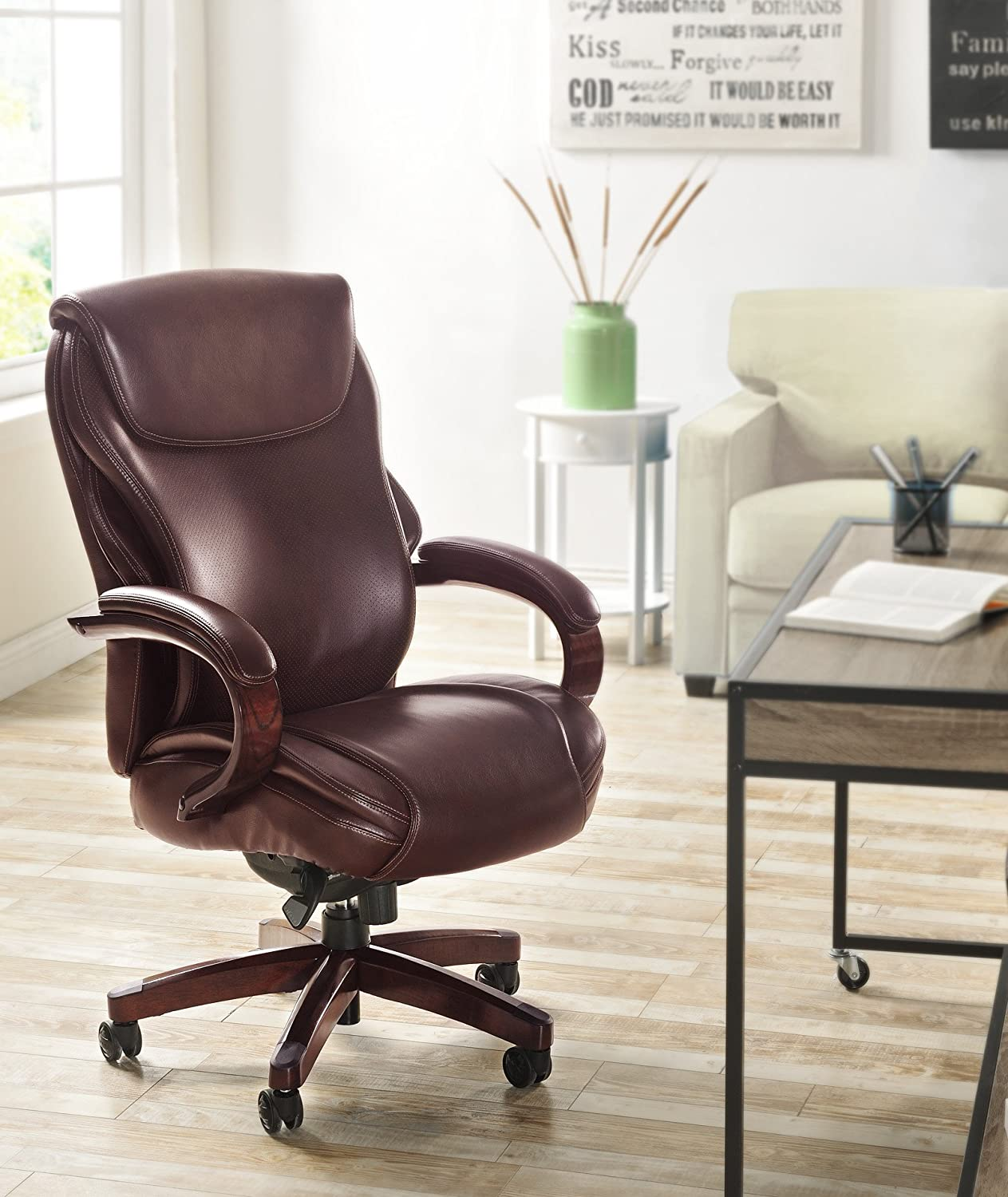 amazoncom lazboy hyland executive bonded leather office chair coffee brown kitchen u0026 dining - Leather Office Chairs