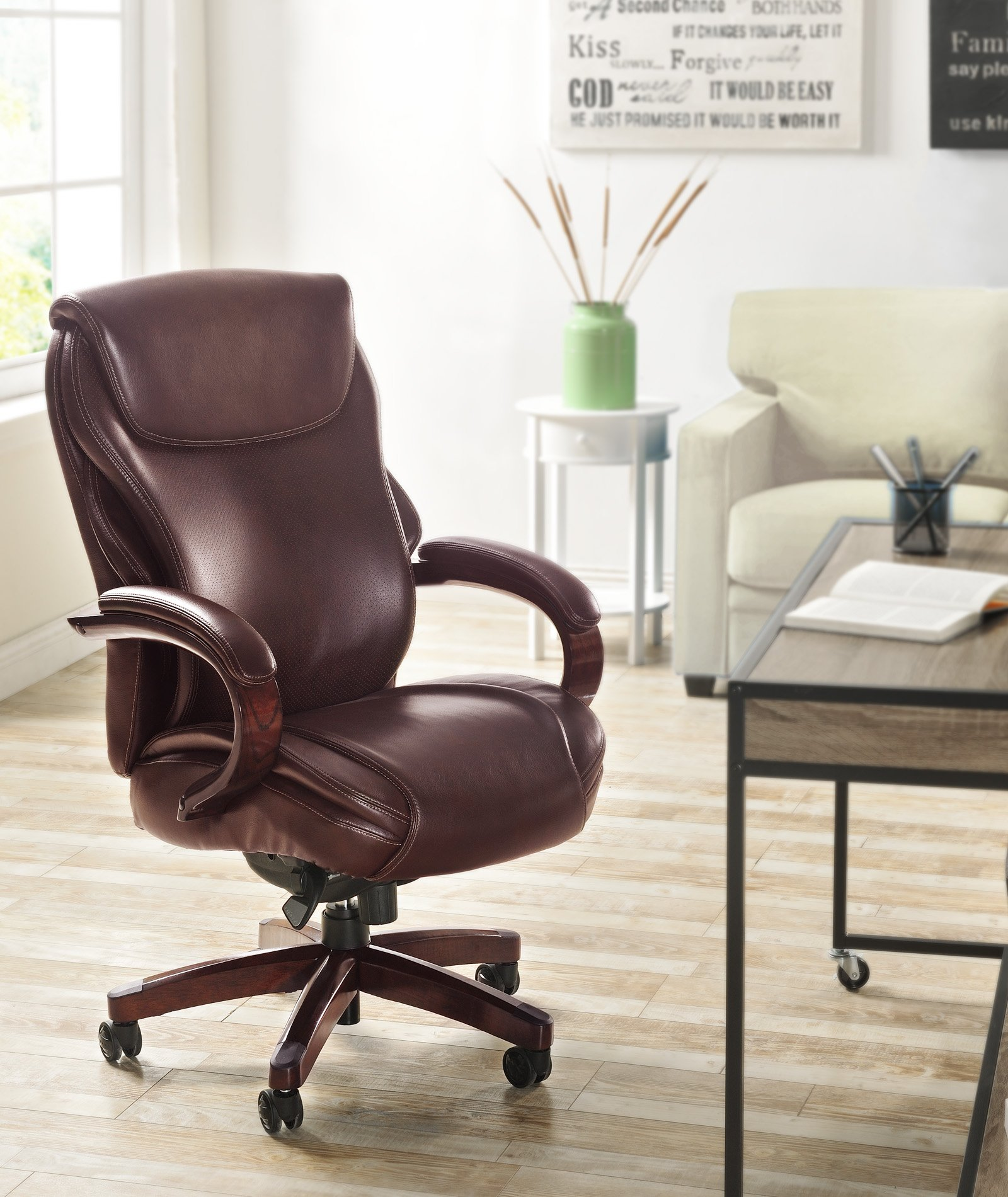 La-Z-Boy Hyland Executive Bonded Leather Office Chair, Coffee Brown