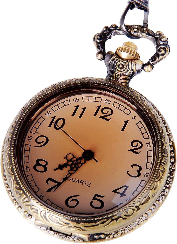 Reloj de Bolsillo de Cuarzo con Carcasa en Tono Bronce, Números Arábigos y Cadena Media Hunter de Diseño Antiguo PW-29: Amazon.es: Relojes
