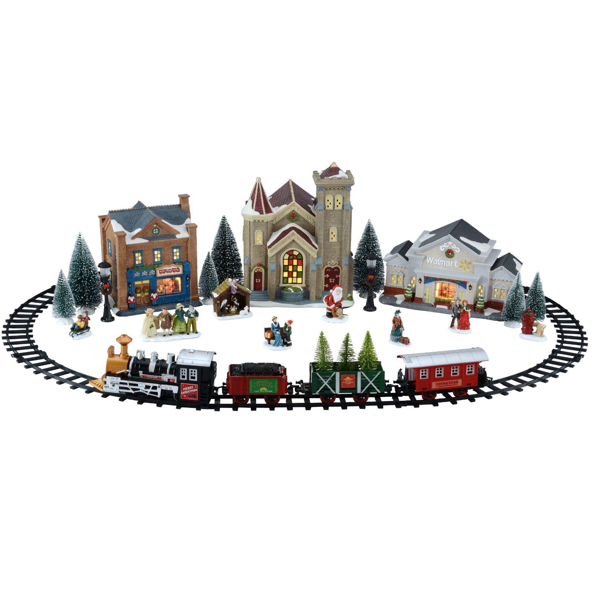 Christmas Village Train Set.Details About Battery Operated Train Set Christmas Village Holiday Time