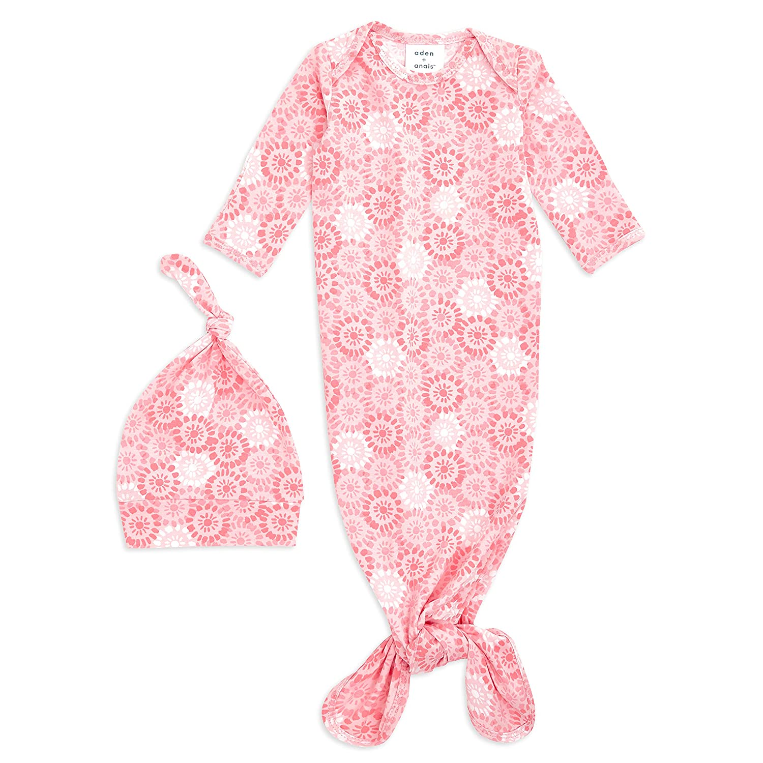 Infant Gown with Fold Over Mitten Cuffs aden Perennial anais Comfort Knit Knotted Newborn Baby Gown and Hat 2 Piece Set Super Soft Cotton with Spandex 0-3 Months