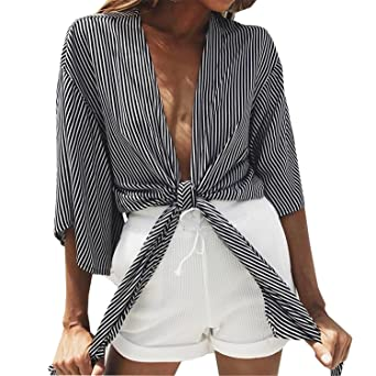 HUAKUISHOU Women Black Striped Blouse Shirt Front Big Bow Tie Top Sexy Blouse at Amazon Womens Clothing store: