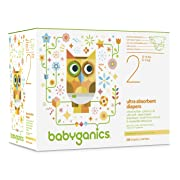 Babyganics Ultra Absorbent Diapers Economy Pack, Size 2, 216 Count