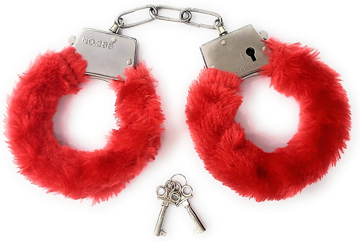JASINCESS Plush Toy Handcuffs with Keys Toy Police Costume Prop Accessories Party Supplies
