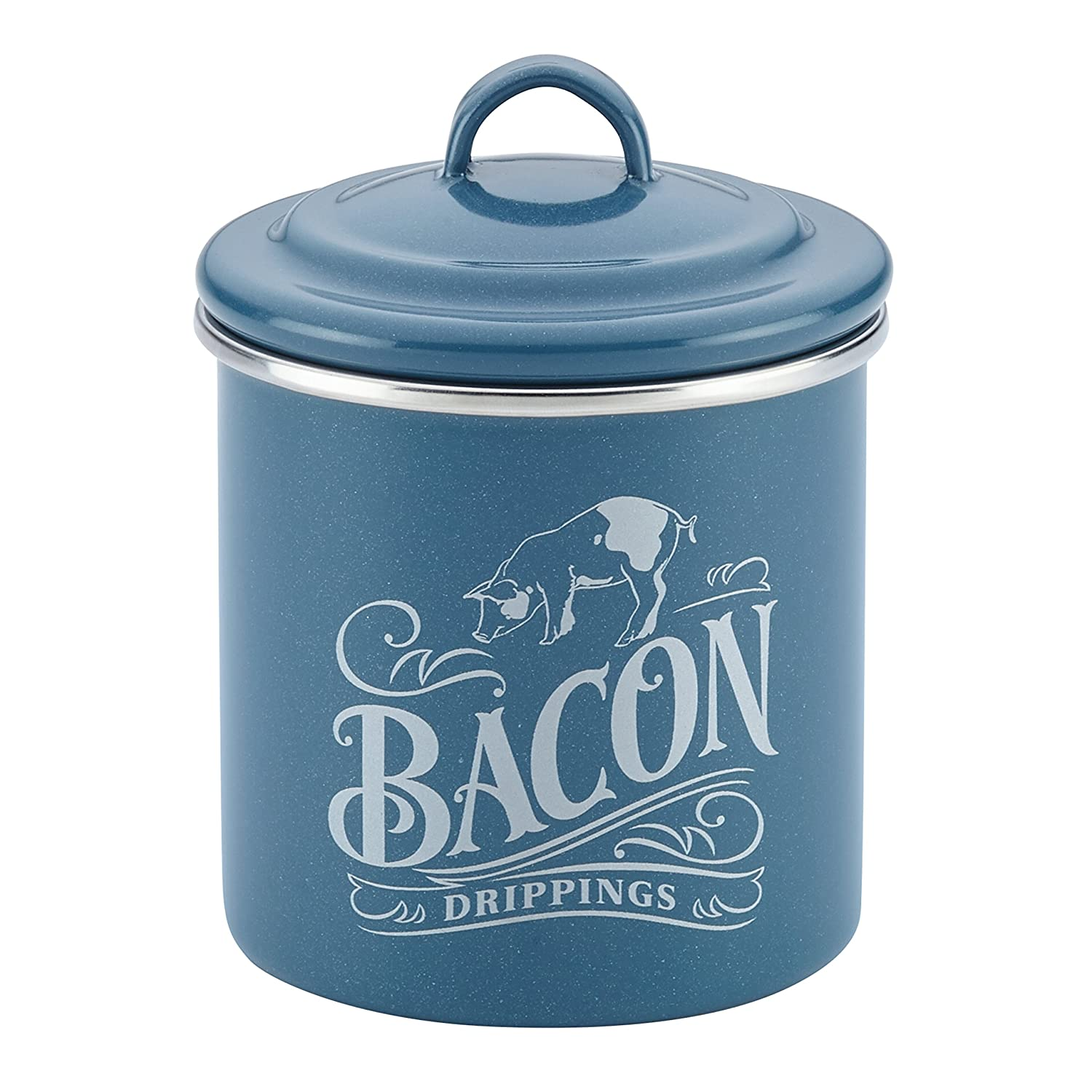 Ayesha Curry 46949 Enamel on Steel Bacon Grease Can, Twilight Teal