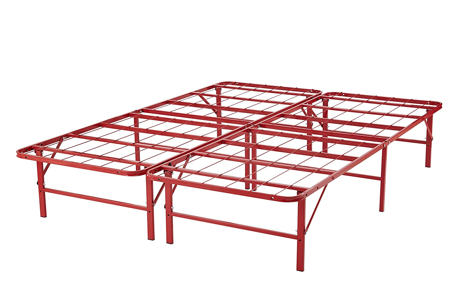 Naomi Home idealBase 14 Platform Metal Bed Frame – Mattress Foundation Box Spring Replacement Red Twin XL