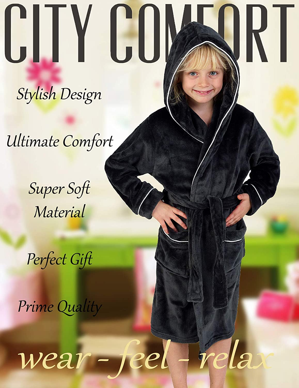 CityComfort Fleece Dressing Gown Kids Towelling Robe Boys Bathrobe Plush Super Soft