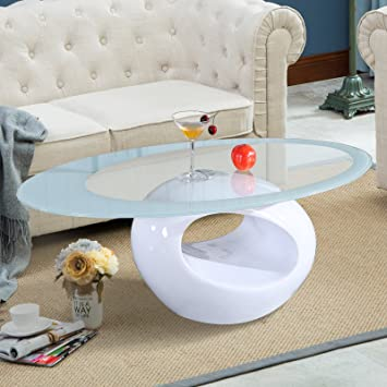 Wondrous Suncoo Glass Oval Coffee Table Living Room Furniture White Home Interior And Landscaping Oversignezvosmurscom