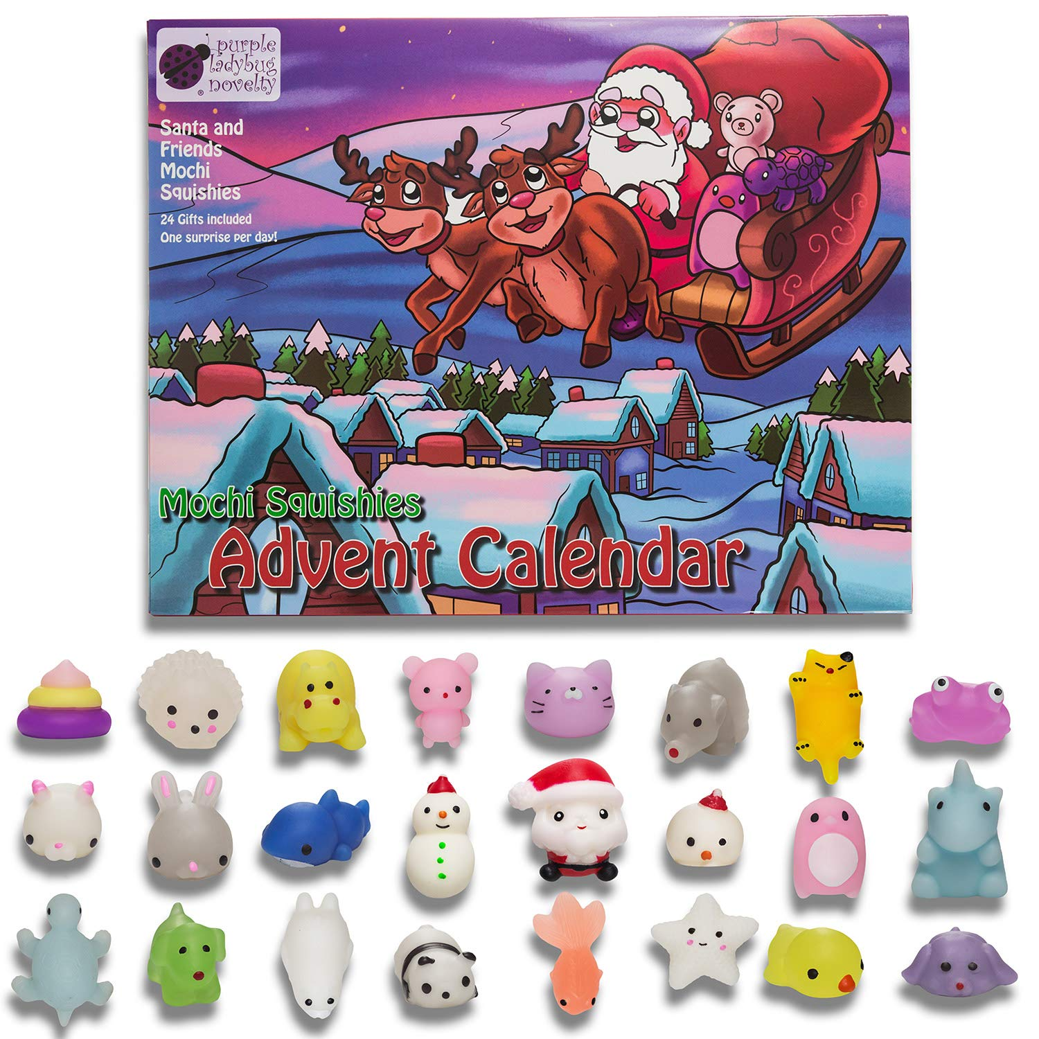 Toy Advent Calendar 2018 with 24 different cute mochi squishies including Santa! Super gift for girl, boy, all children! 24 kawaii squishy toys! SANTA'S WORKSHOP Toy Advent Calendars Purple Ladybug Novelty