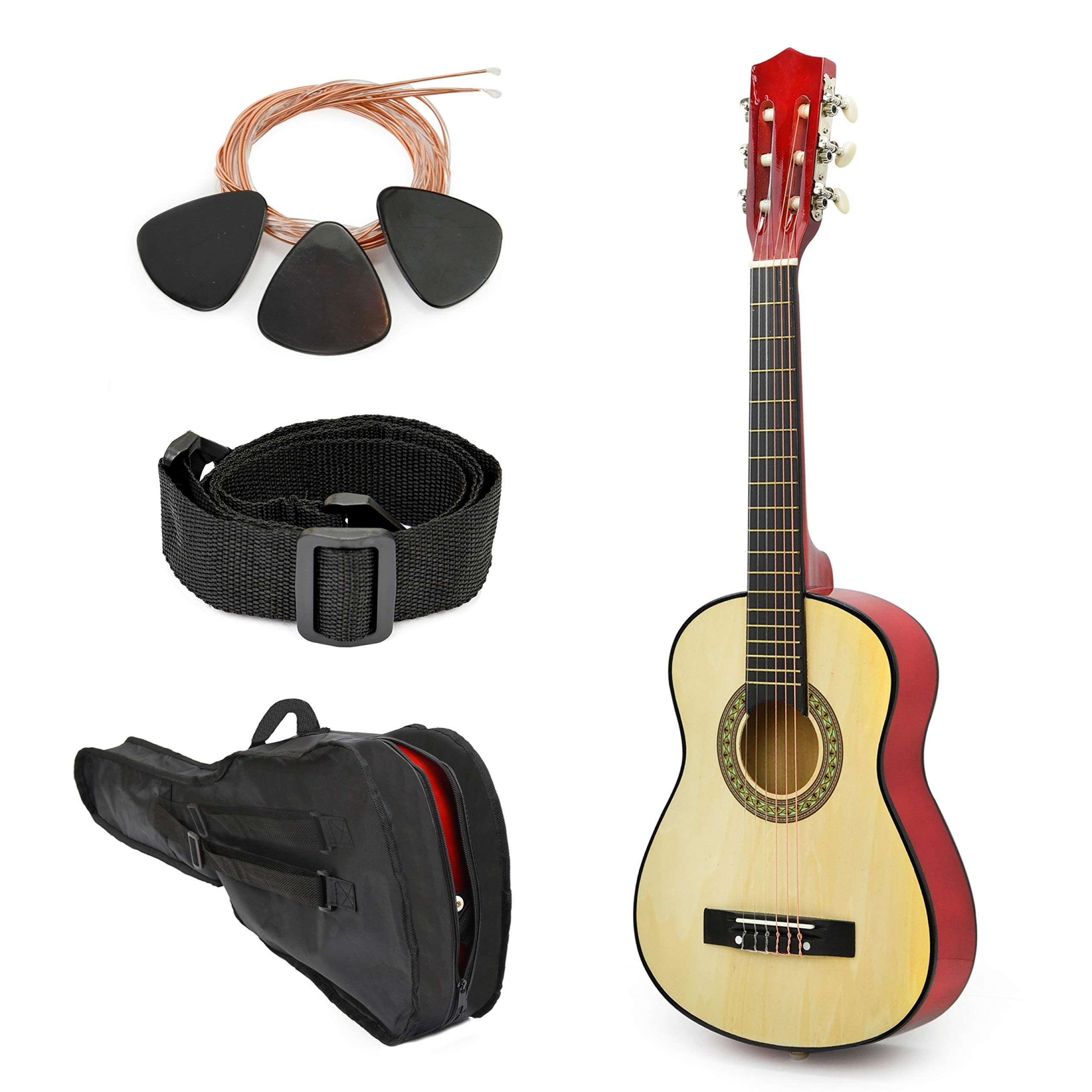 Wood Guitar With Case and Accessories for Kids/Boys/Beginners (38'' NATURAL - Left Handed) by Master Play
