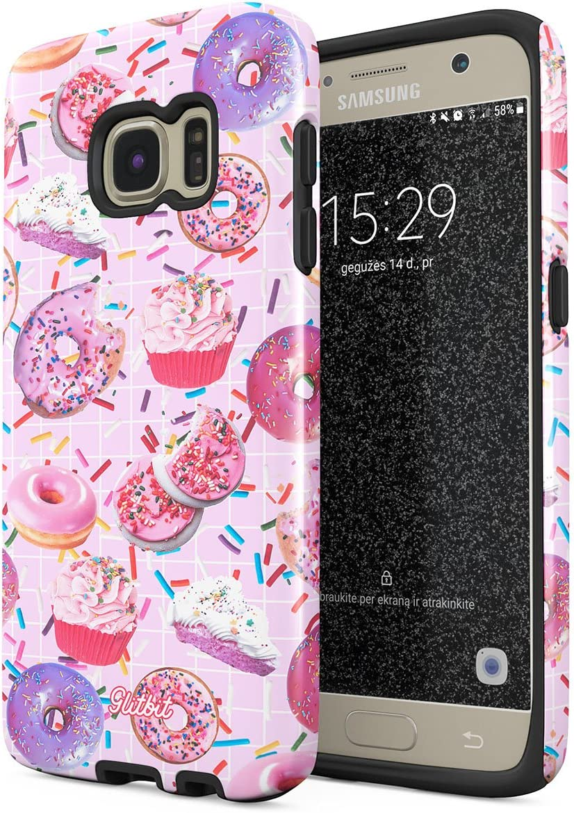 Glitbit Compatible with Samsung Galaxy S7 Case Donut Worry Be Happy Cupcake Sweet Sin Guilty Pleasure Food Sprinkle Doughnut Heavy Duty Shockproof Dual Layer Hard Shell + Silicone Protective Cover