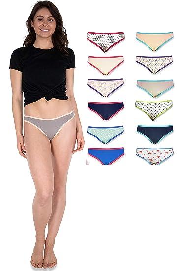 9149829aaaf Sexy Basics Womens 12 Pack Cotton Bikini Briefs (Medium, Solids/Prints Grab  Bag