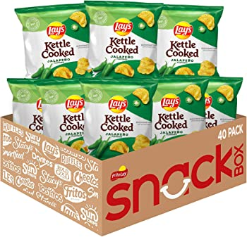 40-Pack Lay's Kettle Cooked Jalapeno Flavored Potato Chips, 0.85 Ounce