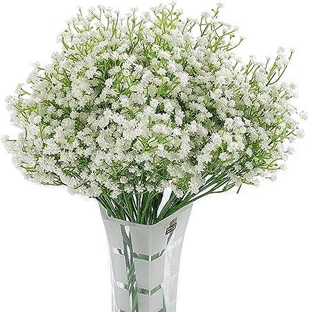 Homcomodar 12 Pack Artificial Flowers Babies Breath Flowers Fake Gypsophila Plants Bouquets For Wedding Home Diy Decoration White Amazon Co Uk Kitchen Home