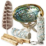 Smudge Kit - White Sage, Palo Santo, Abalone Shell, Smudging Feather, Kokopelli Keychain! Healing, Purifying, Meditating & In