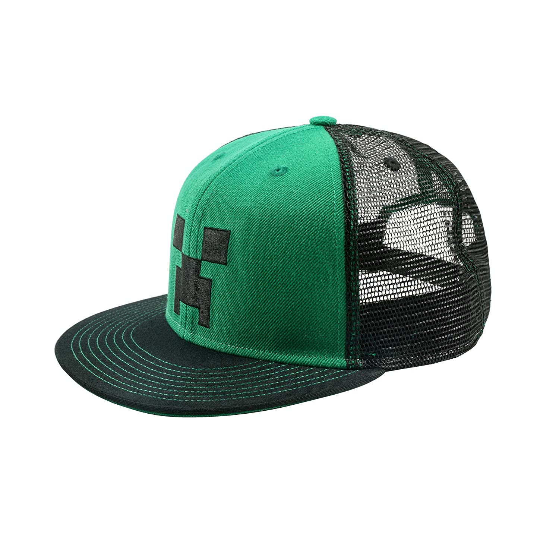 1d797778a53 Amazon.com  JINX Minecraft Creeper Face Snapback Baseball Hat (Green ...