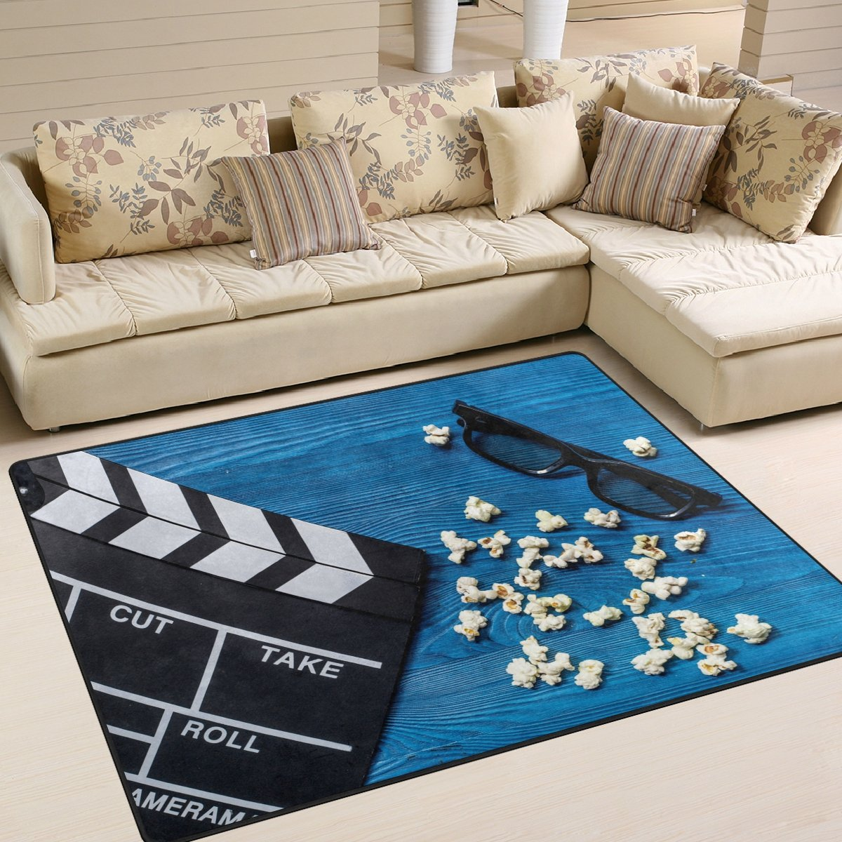 ALAZA Movie Clapboard Vintage Area Rug Rugs for Living Room Bedroom 7' x 5'