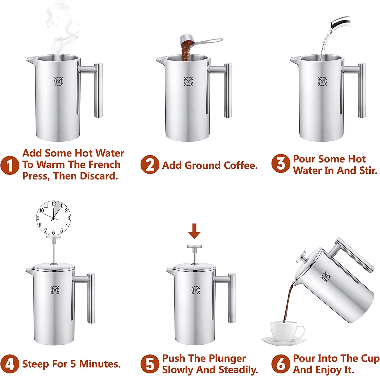 Stainless Steel Cafeteria Double Walled Cafetiere 34oz//1L Large 3 4 Cups Magicaf/é French Press Coffee Maker