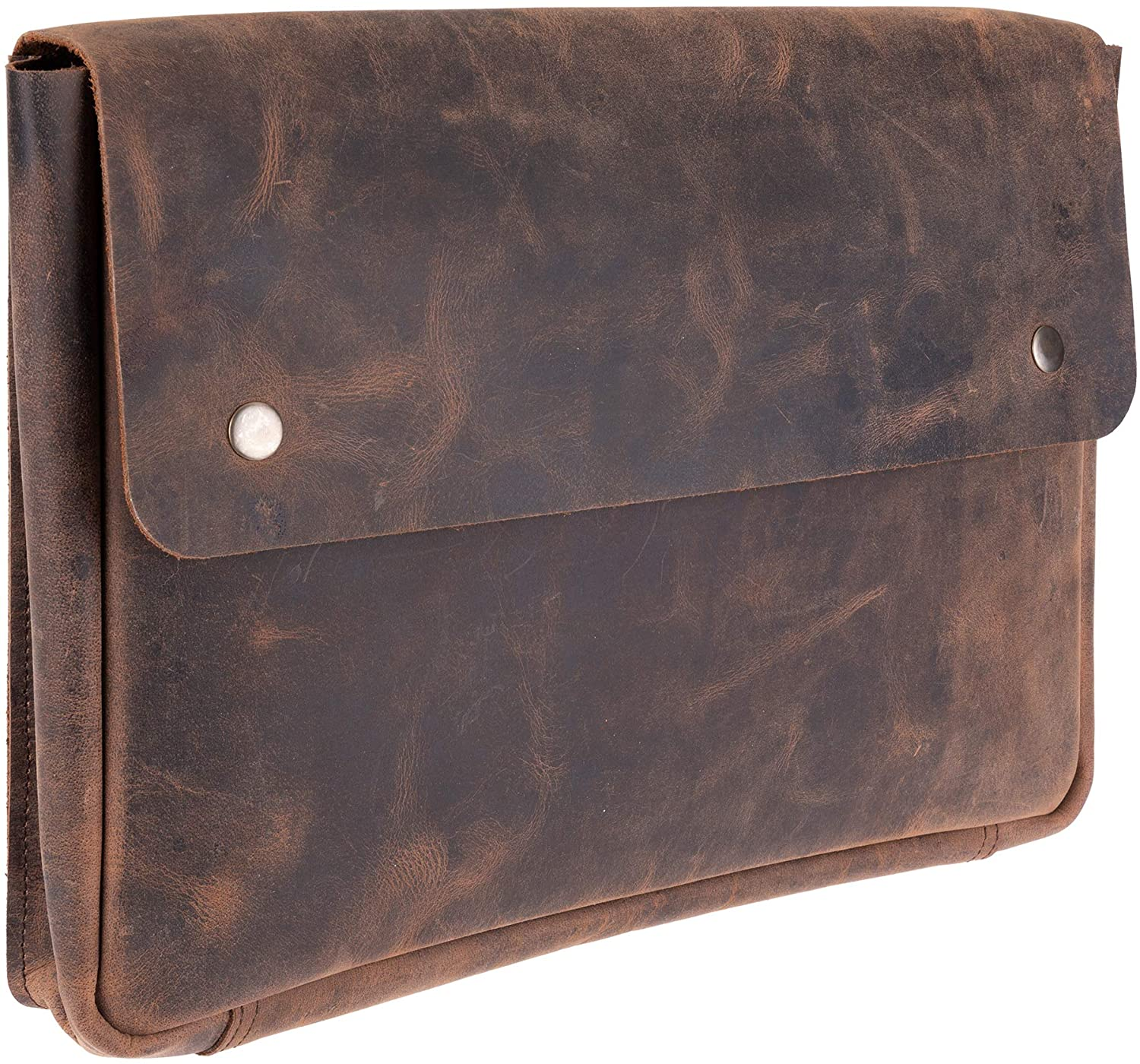 "Genuine Leather Laptop Bag - Portfolio Sleeve – Spacious, Handmade Strapless Design – Distressed, Rustic Buffalo Leather Folder Holder – Perfect for 13"" 14"" 15"" Laptops, MacBook & Tablets"