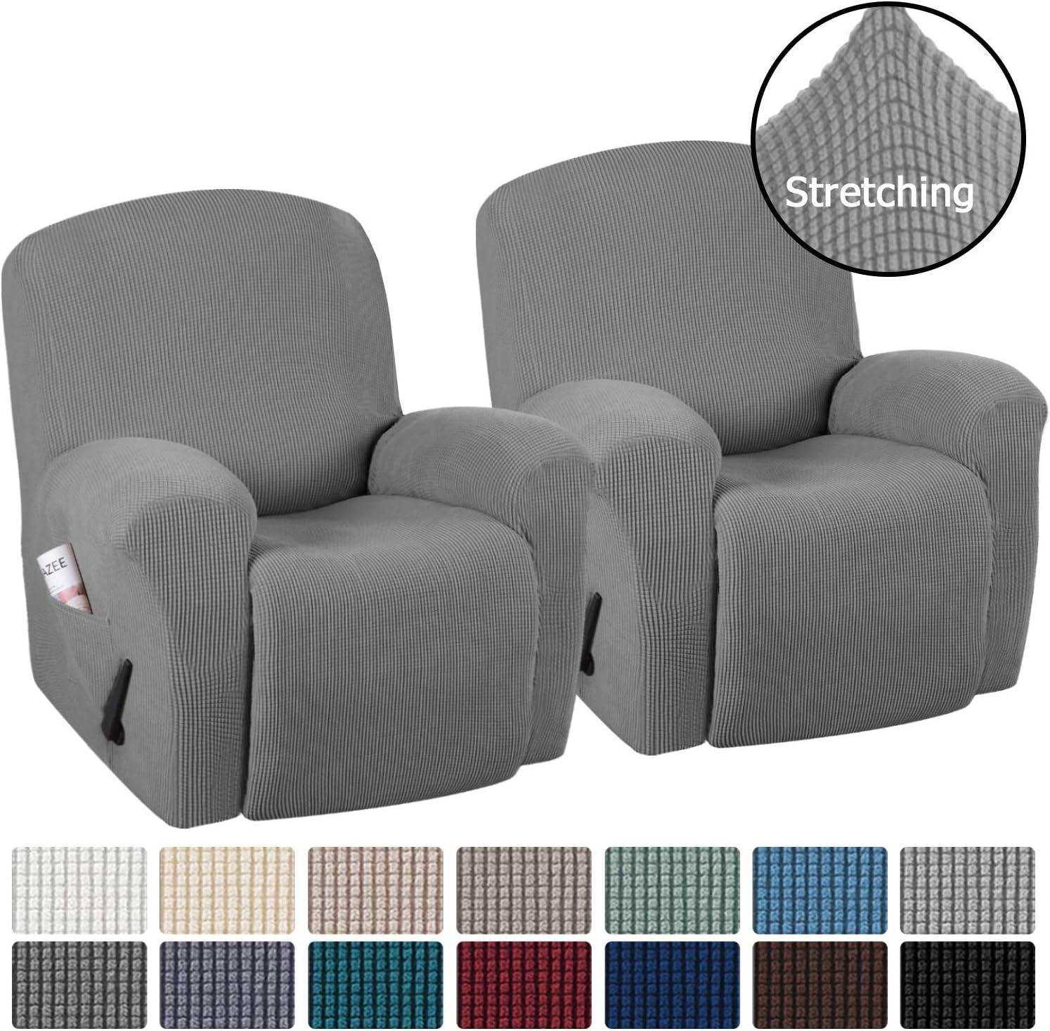 H.VERSAILTEX Stretch Recliner Slipcovers Durable Soft High Stretch Jacquard Sofa Furniture Cover Form Fit Stretch Stylish Recliner Cover//Protector 2 Pack Recliner, Burgundy Red
