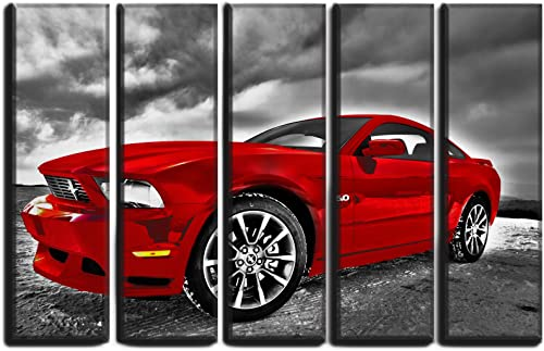 Big 5 Piece Mustang 2005 Wall Art Decor Picture Painting Poster Print on Canvas Panels Piece