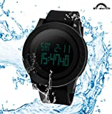 My-Watch Men's Digital Watch Black Waterproof Sport Timing Multifunctional Stopwatches 12H/24H Wrist with LED Back Light Large Face