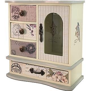Stylish Vintage 4 Drawer Wooden Jewellery Box Amazoncouk Kitchen